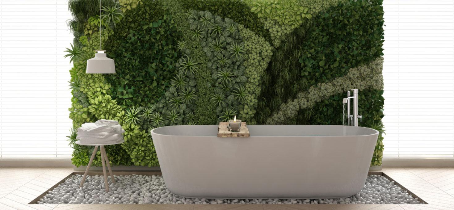 Un bagno immerso nel verde